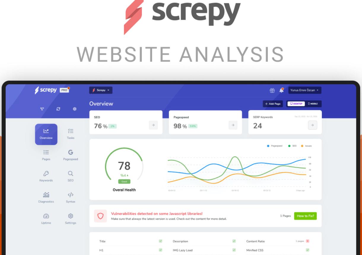 Screpy is an AI-based SEO and web analysis tool
