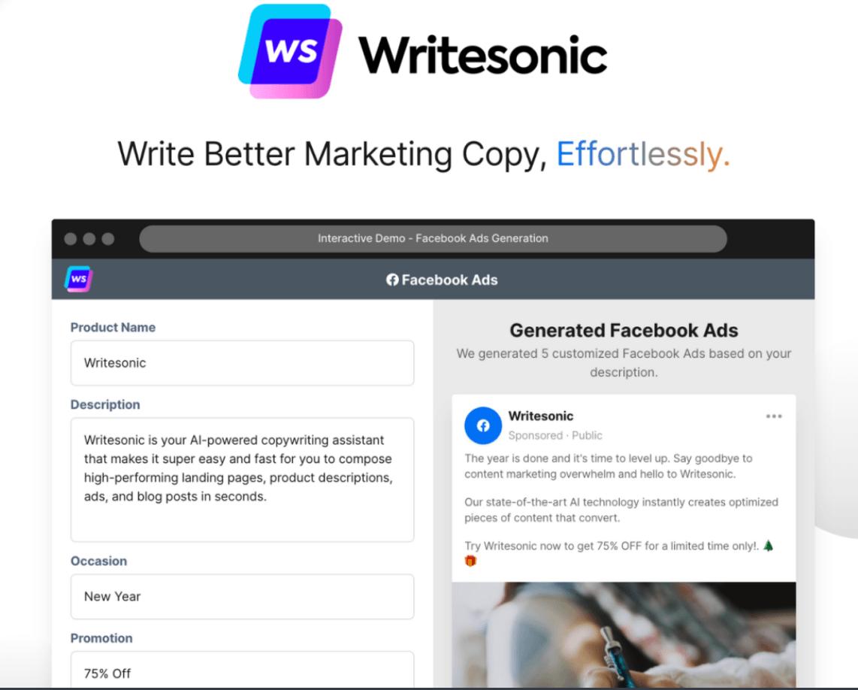 Writesonic AI-powered copywriting assistant